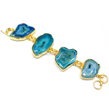 b3c4feb8bc669 22 Carat Gold Plated Agate Slice Charms Simple Bracelets - Buy Druzy  Bracelet,India Gold Plated Bracelet,Gold Cuff Product on Alibaba.com