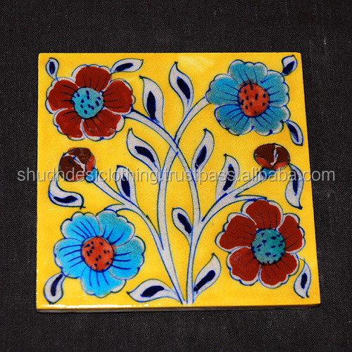 Dark Yellow & Blue Floral Design Kitchen Tiles Wall Decor Tiles From ...