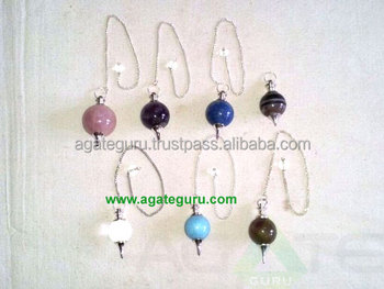 Mix Assorted 7 Chakra Stone Ball Pendulums Healing Pendulums