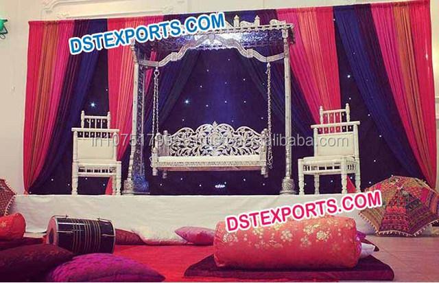 Mehndi Stage With Swing Jhoola,Brass Metal Wedding Golden Swing,Different  Style Wedding Swings Manufacturer , Buy Indian Wedding Swings,Sankheda