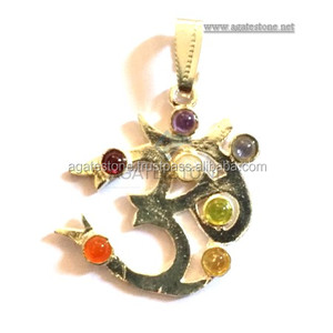 7 Chakra Om Metal Pendant : Charms Supplier India