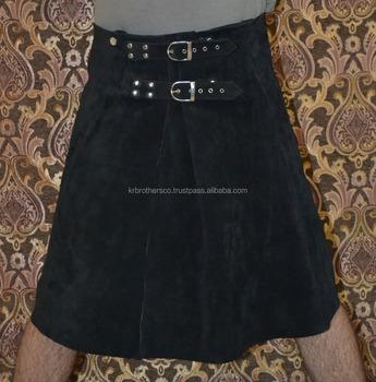 la meilleure attitude a852e cd32b Hommes Romaine Gladiateur Guerrier Noir Mode Daim Cuir Kilt Jupe - Buy Jupe  En Cuir Véritable,Kilt En Cuir Gladiateur,Kilt Guerrier Homme Product on ...