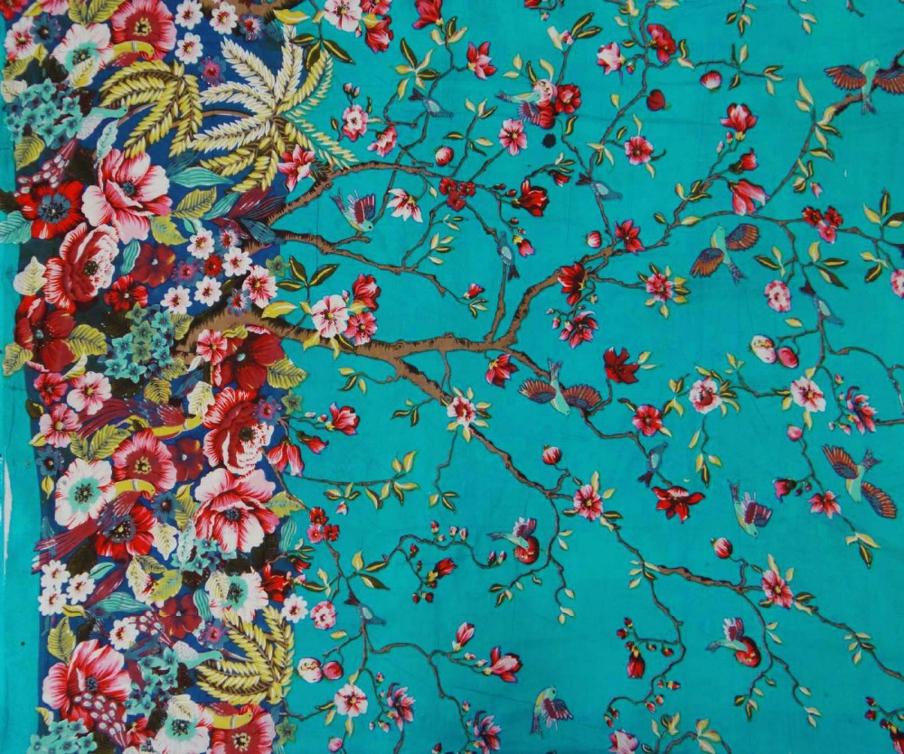 "Blue Indian Fabric Cotton Material 44"" Wide Designer Fabric For Sewing FBC7110C"