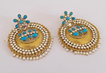 5775b86ae Punjabi Chandelier kundan Earrings-Wholesale Indian ethnic earring-Pearl  Imitation Chandelier Earring