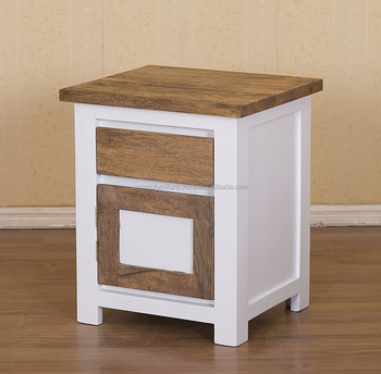 Indonesian Furniture   White Painted 1 Drawer Nightstand