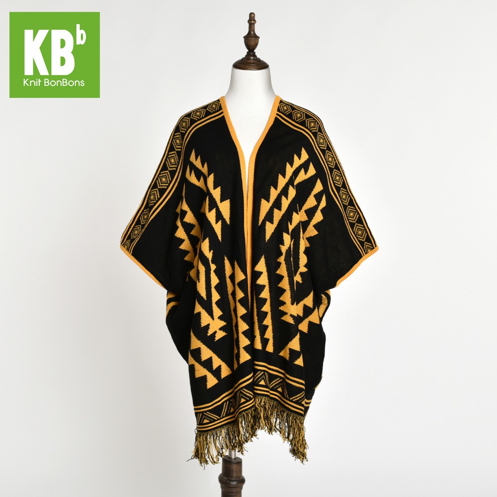 New Fashion Custom Made OEM 100% Acrylic Pattern Four Seasons Adult Knitted Shawl Mustard Warm Knit Shawl