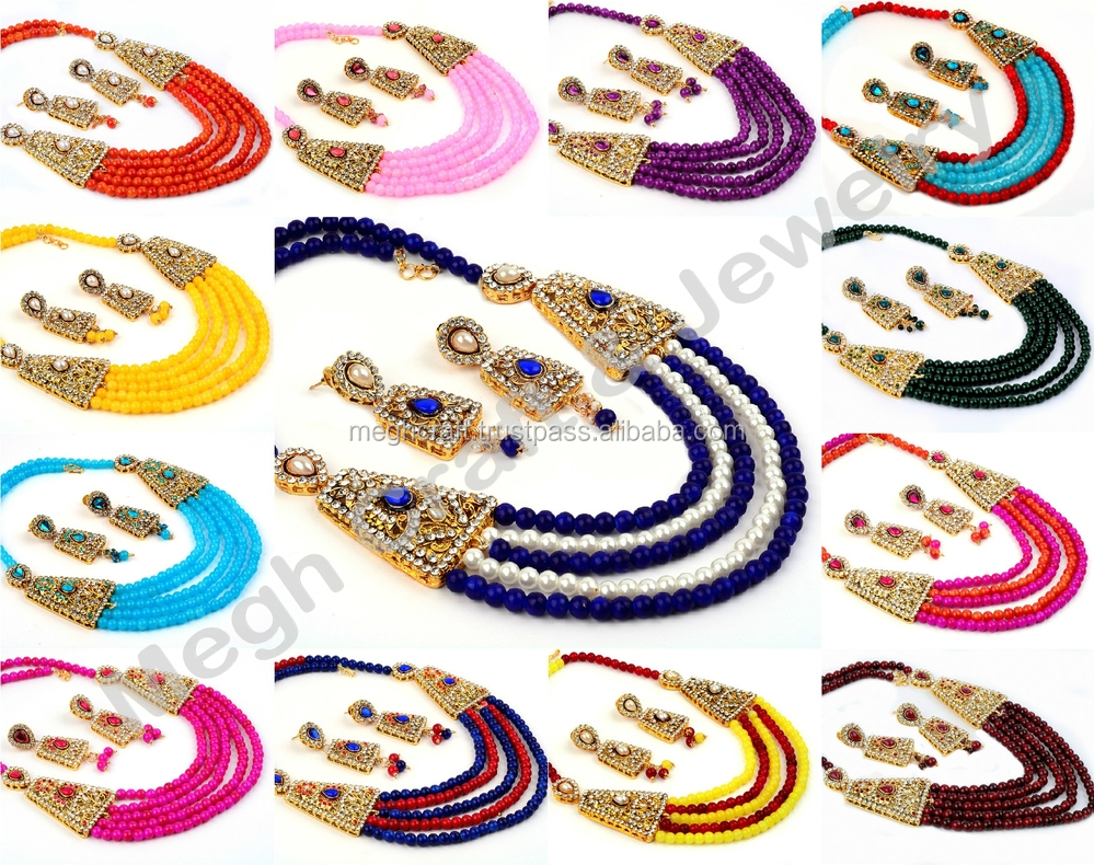 Latest Designer Pearl Necklace Set Imitation Jewellery