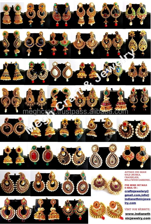 Wholesale South Indian Style Jhumka Earrings one Gram Gold Jhumka