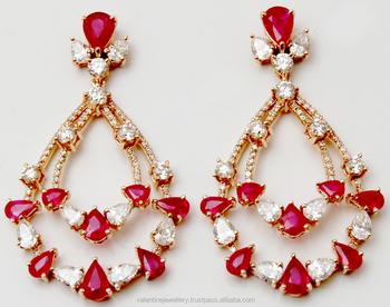 Pear Diamond Ruby Hanging Earrings