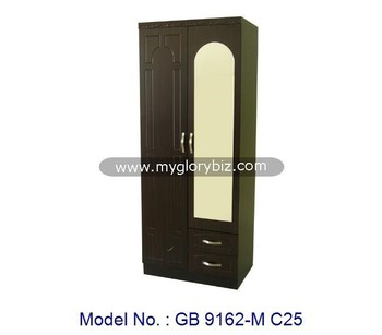 Bedroom Furniture Almirah latest 2 doors mdf wardrobe with mirror modern wooden almirah