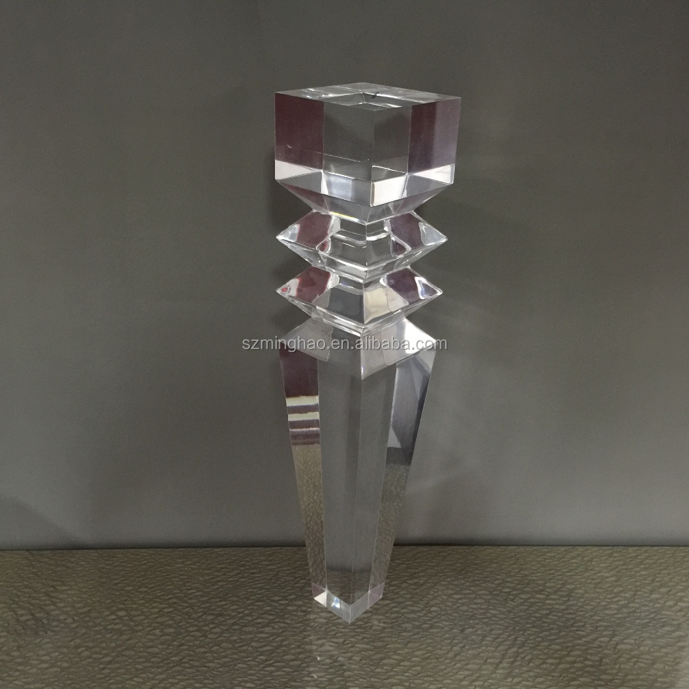 Customized clear lucite table legs acrylic furniture table legs