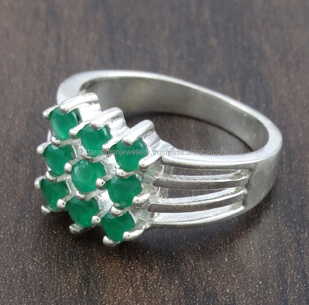 Emerald Gemstone 925 Sterling Silver Mens Antique Jewelry Ring Size 7 Free Ship