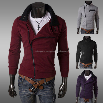 New Casual Men Jersey Fashion Stand Collar Side Zip Up Slim Fit ...