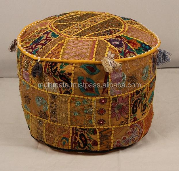 Indische etnische vintage patchwork katoen bohemien meubels ronde poef poef poef poef stoel - Etnische pouf ...