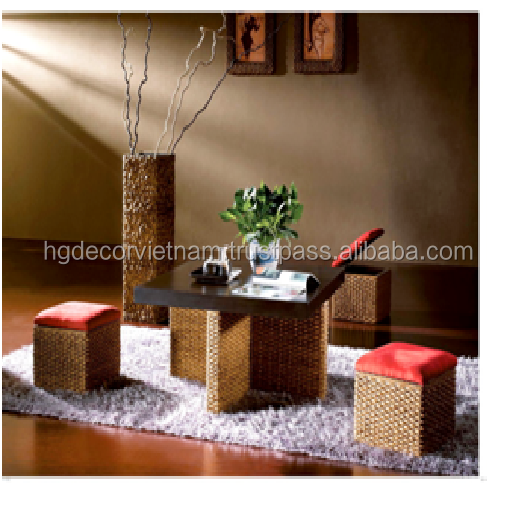 Lovely water hyacinth coffe set with cushion, made in Viet Nam, high quality product