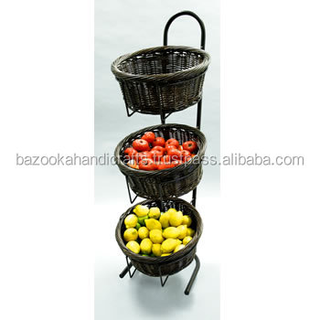 Three Tier Fruit Basket Stand Metal Decorative