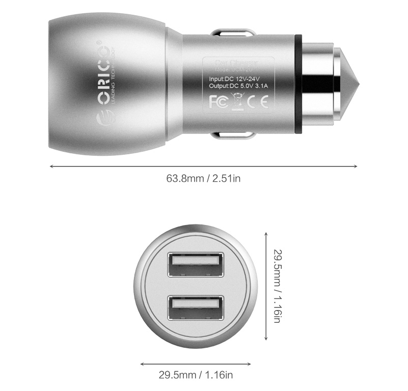 ORICO new UCM-2U compact design 2 port usb car charger with safety hammer in car phone accessories
