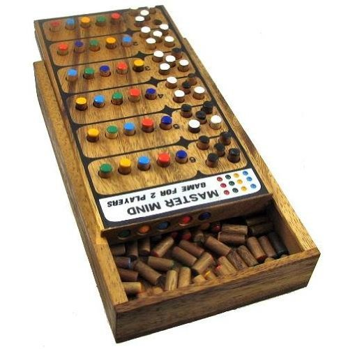 Handmade Mastermind Wooden Brain Teaser Game - 3d puzzle connect 4 Wooden Puzzles for Adults