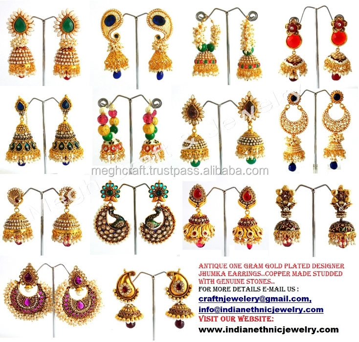 India one gram gold earrings designs jewelry wholesale 🇮🇳 - Alibaba