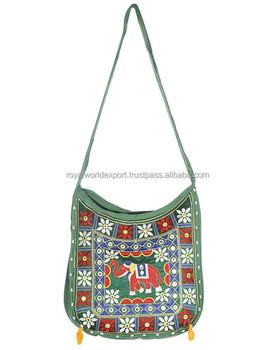5f22929c23ce0 Vintage Boho Bag tribal Hand hathi style round embroidery handmade Indian