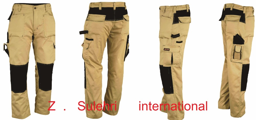 Twill Fabric Mens Black Heavy Duty Work Trousers With Knee Pad ...