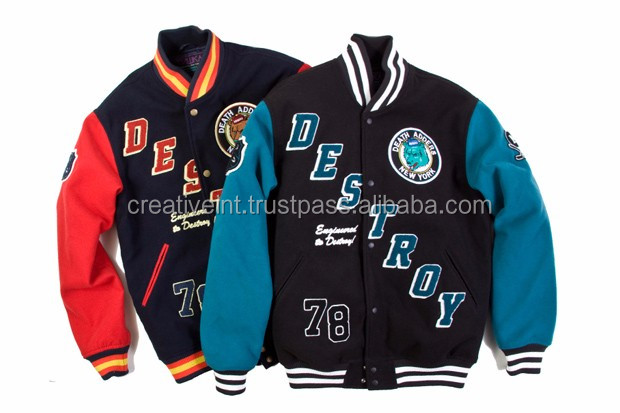 2 colors combined white blue baseball jacket men / varsity jacket custom