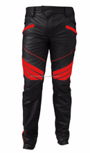 MENS SEXY REAL BLACK & RED LEATHER MOTORCYCLE BIKERS PANTS JEANS TROUSER