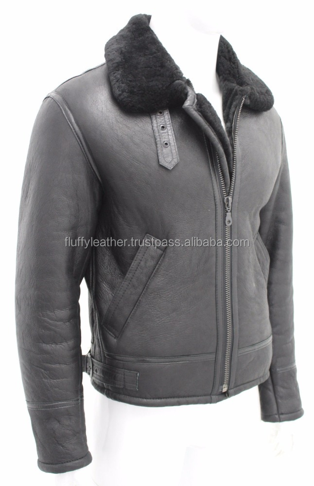 Top Mens Black Sheepskin World War 2 Leather Flying Aviator Jacket--FL-2392
