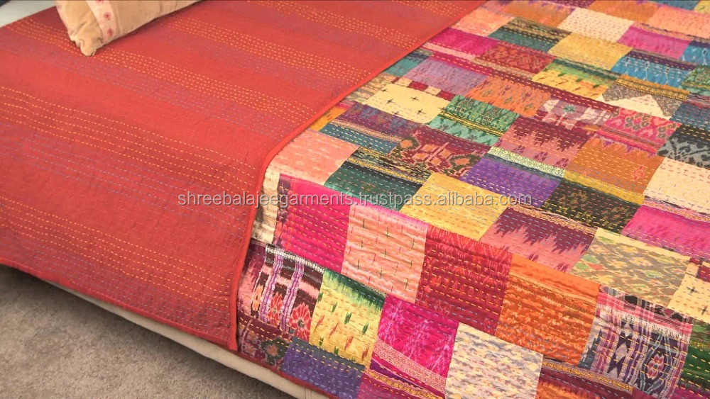 -Twin Queen King Size-Sari De Seda Patchwork Quilt Kantha-Throw-Colchas Cobertores Colcha de Retalhos Do Vintage Indiano mantas, ralli