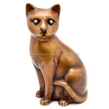 Cat Metal Sculpture Antique Look Indian Metal Handicraft For Your