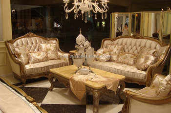 Arabic Living Room Furniture , American Style Wooden Sofa Set , Classic  Italian Antique Living Room Part 73