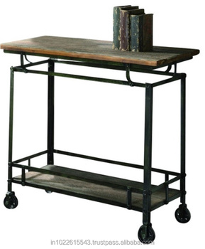 Metallo Industriale Storage Cucina Carrello Con Legno Top - Buy Metallo  Carrello Con Ruote,Archiviazione Mobile Carrello,Outdoor Kitchen Carrello  ...