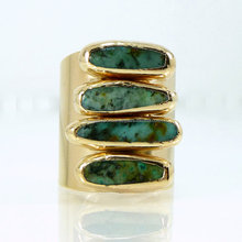National Trendy Vintage Women Turquoise Ring Fashion rough bar Shape December Birthstone African Turquoise Stones Wide Band Ring