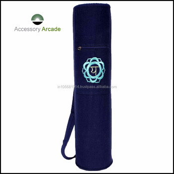 cotton canvas with single Chakra Embroidery yoga mat bag
