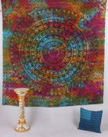 Indian Queen Wall Hanging Multi Colour Tie & Dye Mandala TapestryThrow Hippie Bohemian Decor Boho Art Bedspread