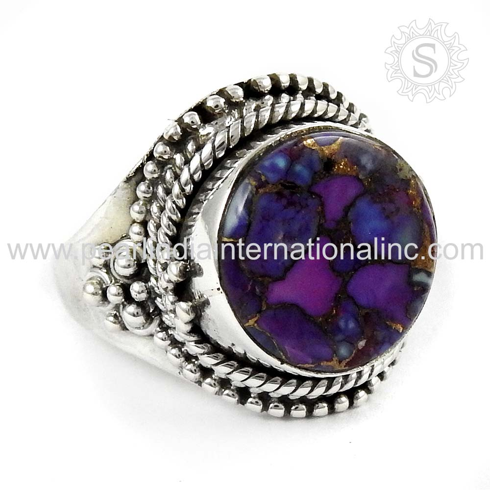 Charming Purple Copper Turquoise stone silver jewelry ring sterling silver jewelry wholesale silver jewelry india