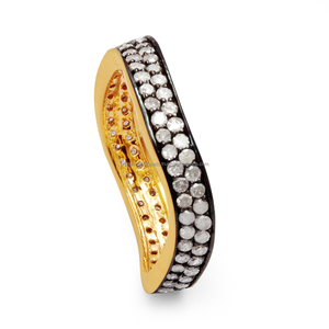 Pave Diamond 925 Sterling Silver Stylish Finger Band