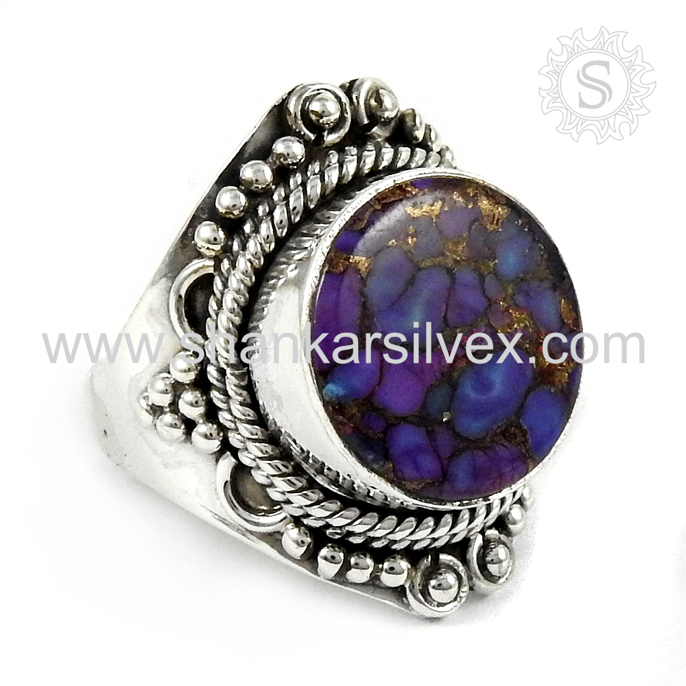 Pleasant Design Gemstone Silver Jewelry Purple Copper Turquoise Ring Wholesale 925 Silver Jewelry