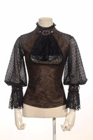 Steampunk blouse with jabot laced see-through bust detail and open back