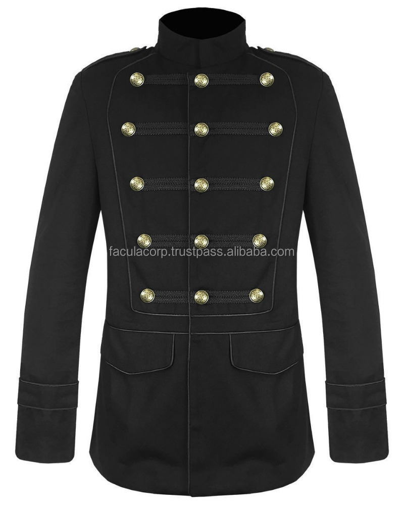 Men Black Gothic Military Jacket Goth Steam Vintage Pea Coat 100% Cotton FC-2334