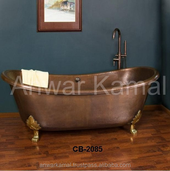 Isabella Copper Double Slipper Claw Foot Bath Tubs Nickle Interiors