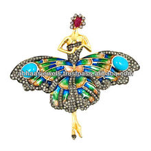 925 Sterling Silver Pave Diamond Turquoise Ruby Fashion Brooch Butterfly Pendant Gemstone Jewelry Exporter