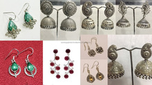 925 sterling silver oxidised antique jhumki earrings for women- indian wholesale silver jewelry