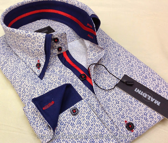 Double collar printed men's shirts