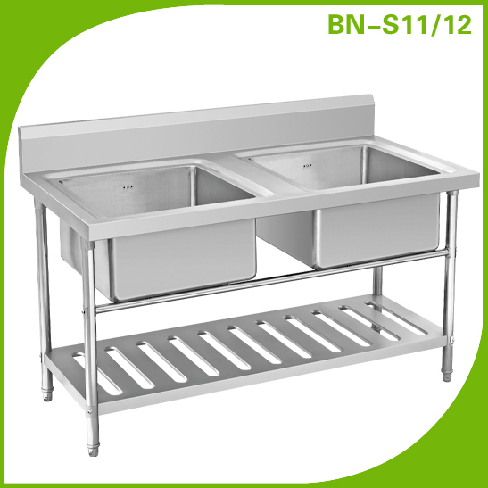 Cosbao Double Sink Bench With Under Shelf/stainless Steel