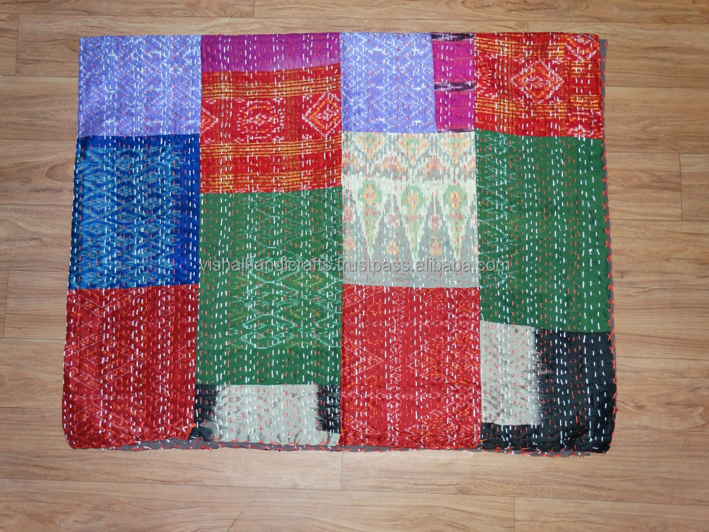 Vintage old silk saree patola gudari Indian Hand stitched reversible Kantha Quilt indian throw bedspread...