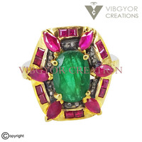 925 Sterling silver pave diamond ruby emerald gemstone 14k gold ring jewelry