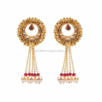 93c82a7eed3f6 Kundan Gold Plated Fashion Chain Tassel Pearl Drop Mauve Color Girlish  Light Weight New Design Earrings - Buy Fashion Earring Designs New Model ...