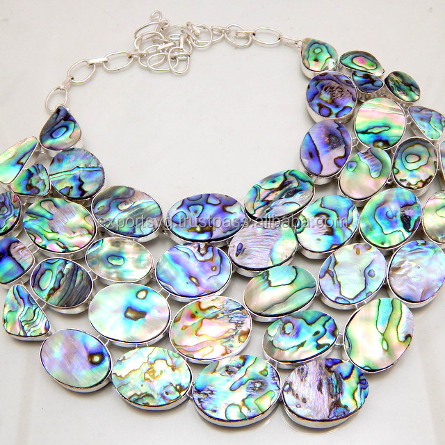 Abalone Shell Fashion Silver Handmade Overlay Necklace, fashion necklace ,fashion jewellery