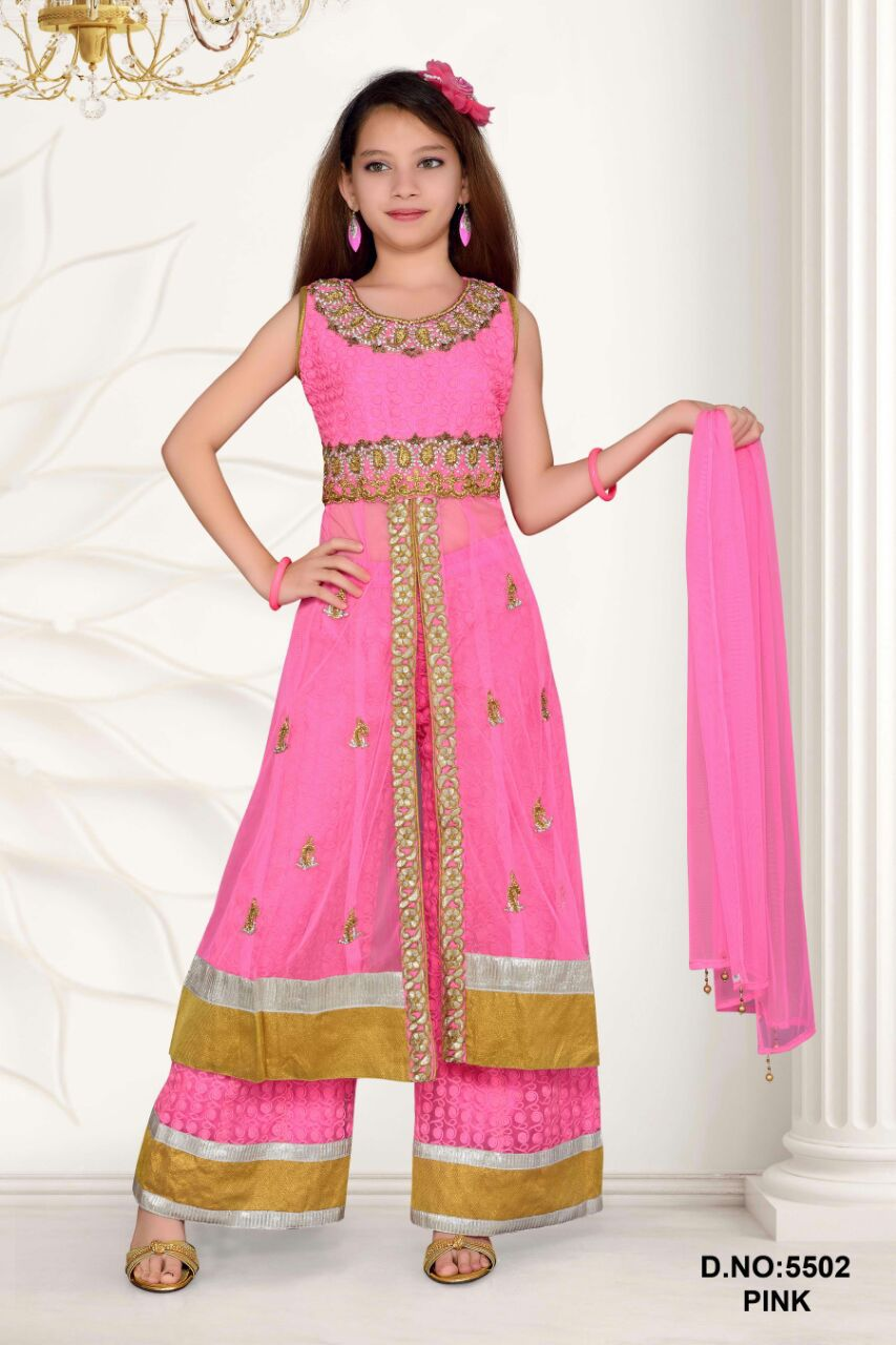 682d6ddd289 Pakistani Plazo Style Long Suits For Girls In Pink - Buy Pakistani Plazo ...